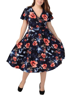 Women's Pleated Half Sleeve High-Waisted Printed Casual Dress Plus Size