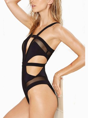 Women's Vintage Beach Wear One Piece Hollow Bandage Monokini Swimsuit