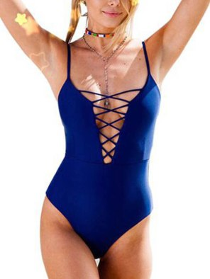 Sexy Swimwear Women's Vintage Beach Wear Print Front Cross Bandage Monokini