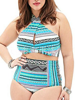 Women's Plus Size Bikini Set High Waist Floral Push Up Swimwear