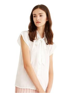 Women's Cap Sleeve Bow Tie Neck Chiffon Blouses White