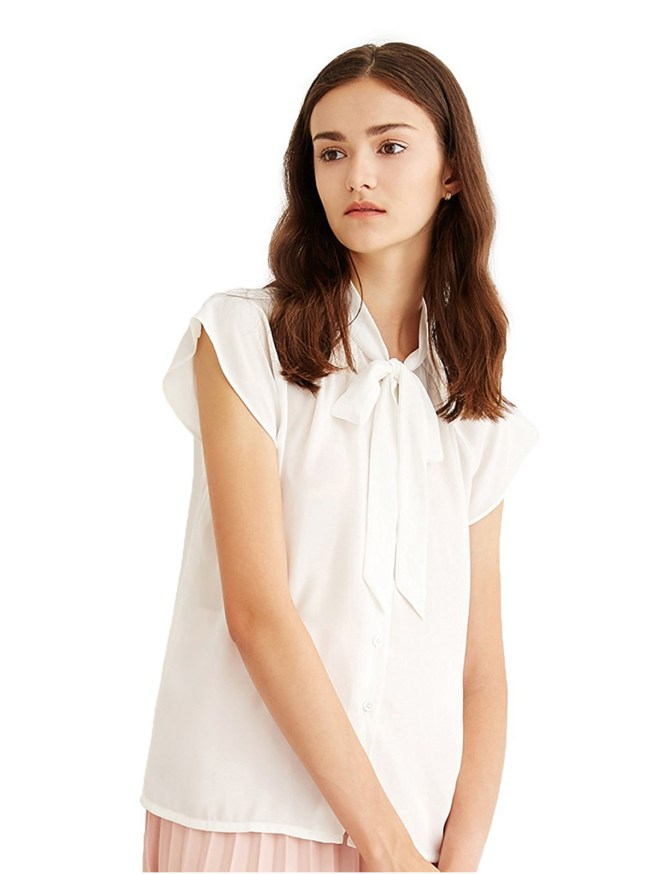 Women's Cap Sleeve Bow Tie Neck Chiffon Blouses White