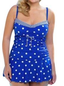Dots Print Swimwear Women's Two Piece Plus Size Swimsuit Vintage Retro Monokini Skirt