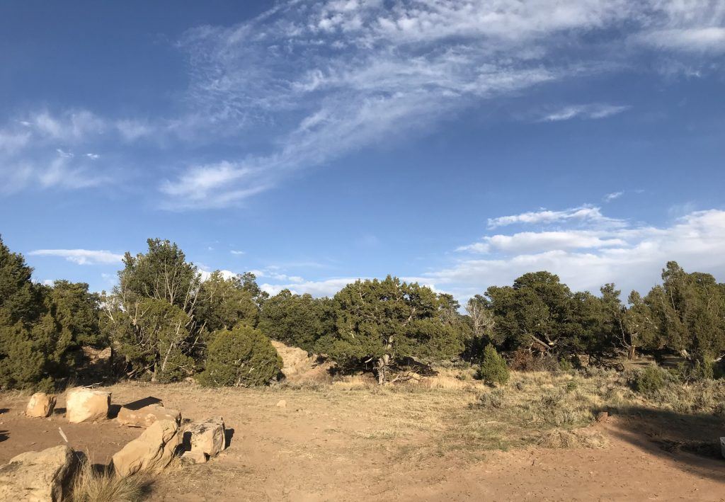 Picture of where drumming circles take place, dirt and rocks