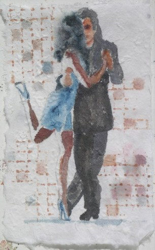 High Stepping V, 9.5 x 6 in, watercolour on handmade saa paper