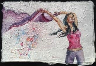 Scarf Dance I, 7.5 x 11 in, watercolour on handmade saa paper