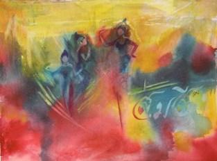 Three Dancers, watercolour, 9 x 12 in
