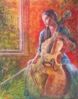 Cello Dream II, 30 x 24 in, acrylic