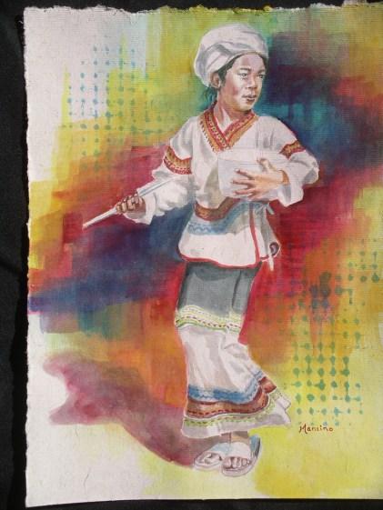 Hilltribe Drummer Boy, 12 x 9 in, watercolour