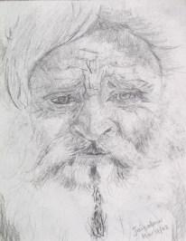 Worried, pencil sketch, 4 x 3 in