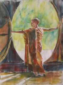 Young Monk I, 12 x 9 in, watercolour and ink