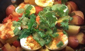 Egg curry as the Friesens prepare it.