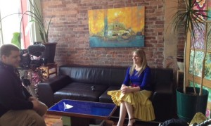 The Plumb Media office. Kate being interviewed by Channel 4 Action News reporter.