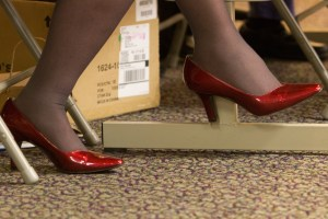 red shoes under the table in Kansas
