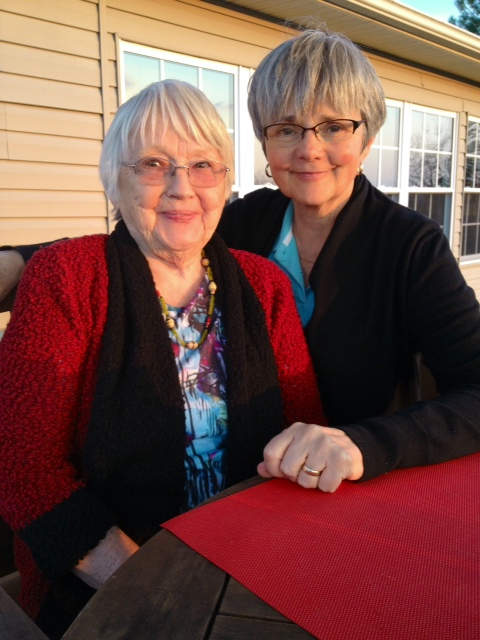 Mother and me on the deck, Spring, 2014