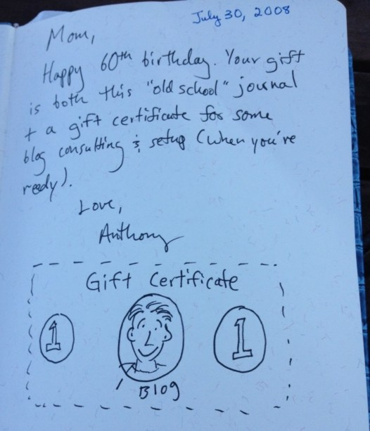 Anthony's gift. Inscribed in a leather-bound journal.