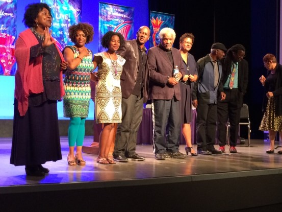 Joanne Gabbin at left. Rita Dove, Mariahadessa Ekere Tallie, Frank X. Walker, Ishmael Reed, Elizabeth Alexander, Photo by Tina Glanzer