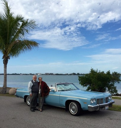A 1975 Olds 88 convertible. Friends gave us a memorable ride on Stuart's birthday.