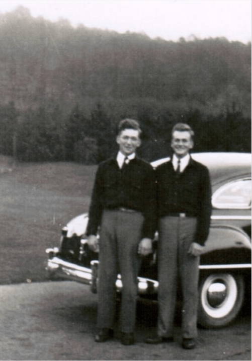 Uncle Ken (left) and Daddy (right) 1946. They shared a love of cars and farming. They were best friends until Daddy's death in 1980.