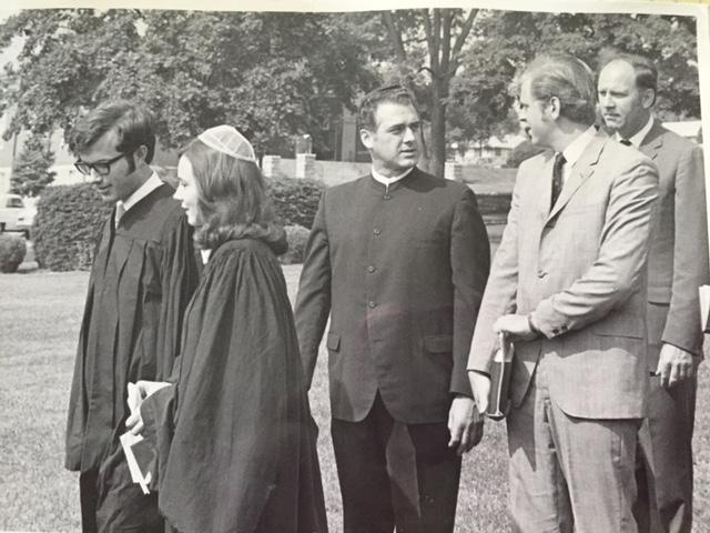 Graduation Day Eastern Mennonite College, 1970: Elvin Kraybill, me, Myron Augsburger, Conrad Brunk. Truman Brunk