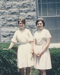 My roommate Tina Hess and me, standing outside our Northlawn Dormitory, 1967.