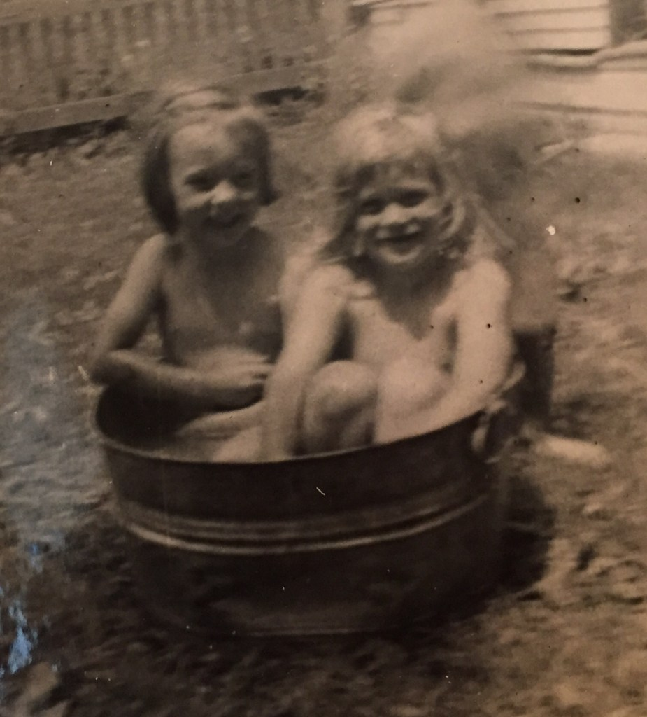 I'm on the left. My cousin Mary Ann's on the right. Probably about 1952.
