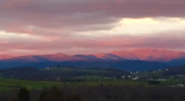 Alpenglow. Dec. 15, 2015, Harrisonburg, Virginia