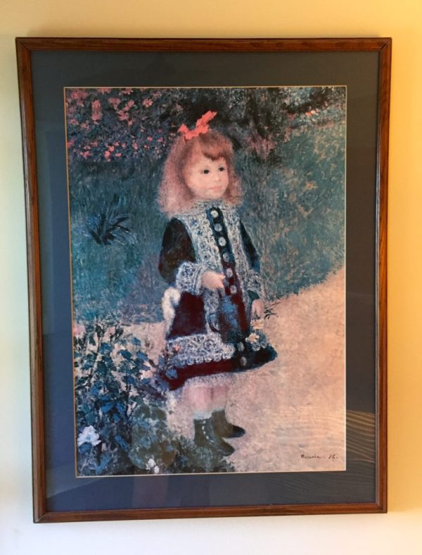 Renoir's girl with watering can still graces our walls, waiting to travel to Kate's new home after renovations are done.
