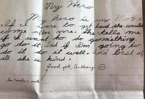 """Anthony's essay """"My Hero."""" Age 9."""