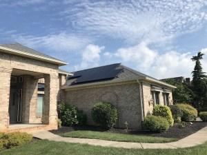 Solar array on garage roof.