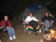 By the camp fire. I was already in my PJ !