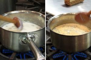 右图 - 加了茶叶后的浅褐色香料奶茶