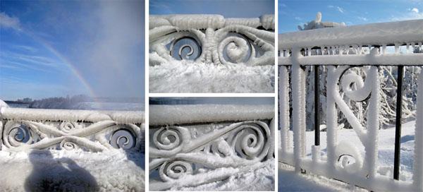 石栏都结了一层冰...