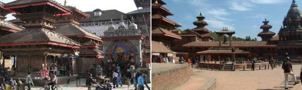 Kathmandu Durbar Squares (left) and Patan Durbar Squares (right)