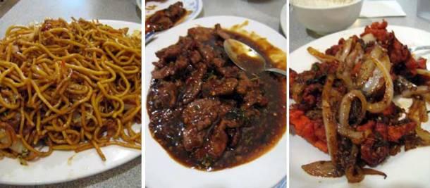 Hakka Village Chow Mein (left), Manchurian Beef with Gravy (middle), Bombay Chicken (right)