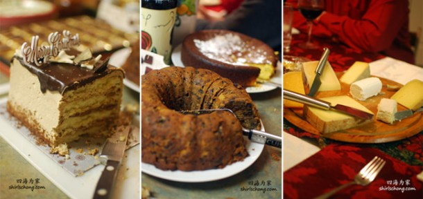 Desserts and cheese at Christmas dinner