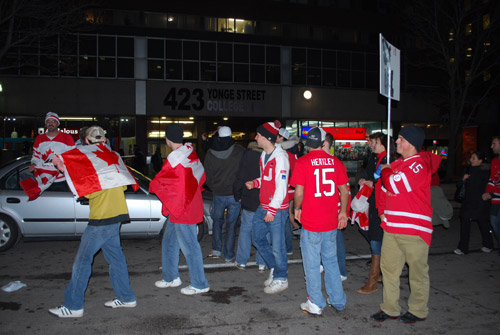 Olympics Hockey 'Golden Night' in Yonge Street Toronto