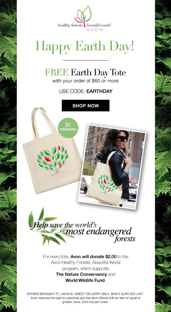 Free Avon Earth Day Tote Bag