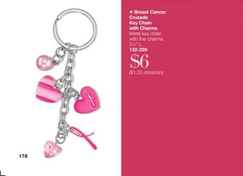 Breast Cancer Crusade Key Chain with Charms