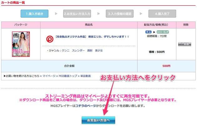 MGS動画カートの商品画面