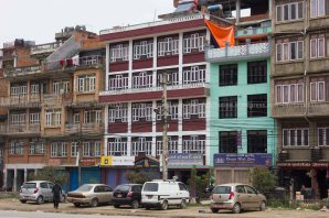 The magnificient play of the window detail of overlapping building here at Banepa Bazaar.