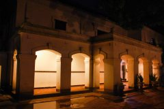 Not just one, Not just two. More than six pass way resembling like a open door without the door leaf. The entrance portico has low thick wall pillars. Beside there one guard chair stands along with the notice board, trying to give the best detail of event notice to all the visitors.
