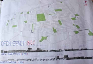 Hierarchy of open space with site elevation