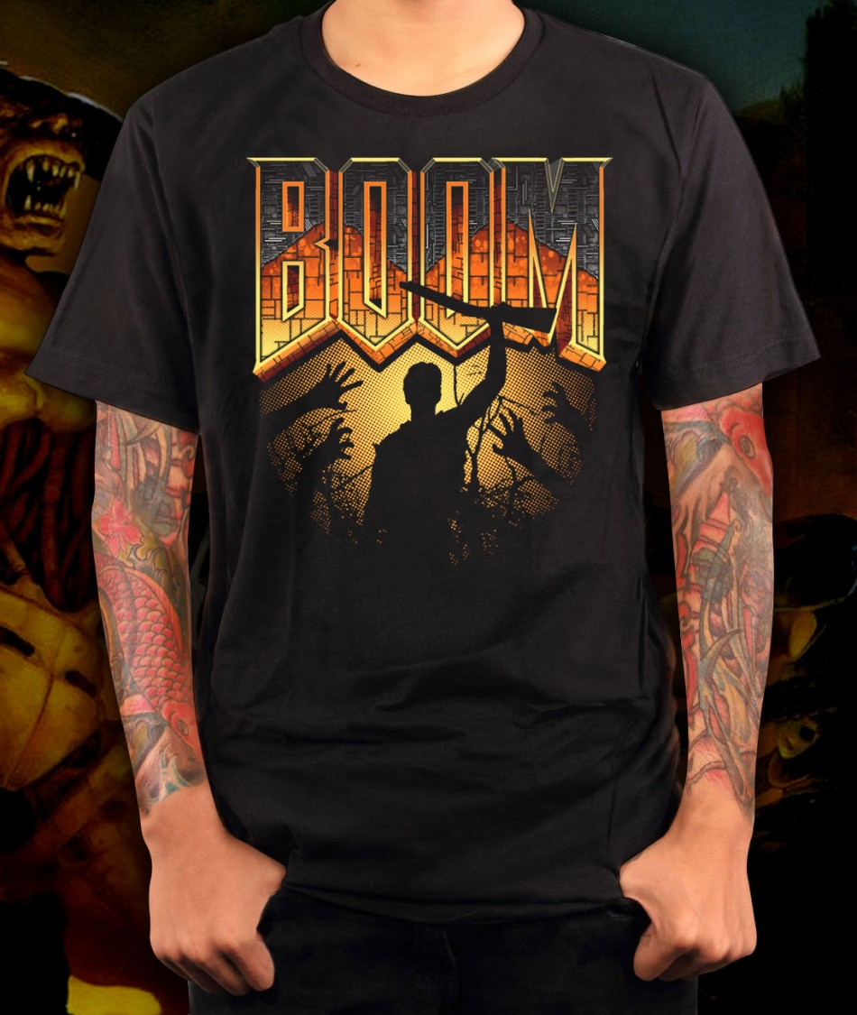 Doom BOOM Boomstick Evil Dead T Shirt Shirts For