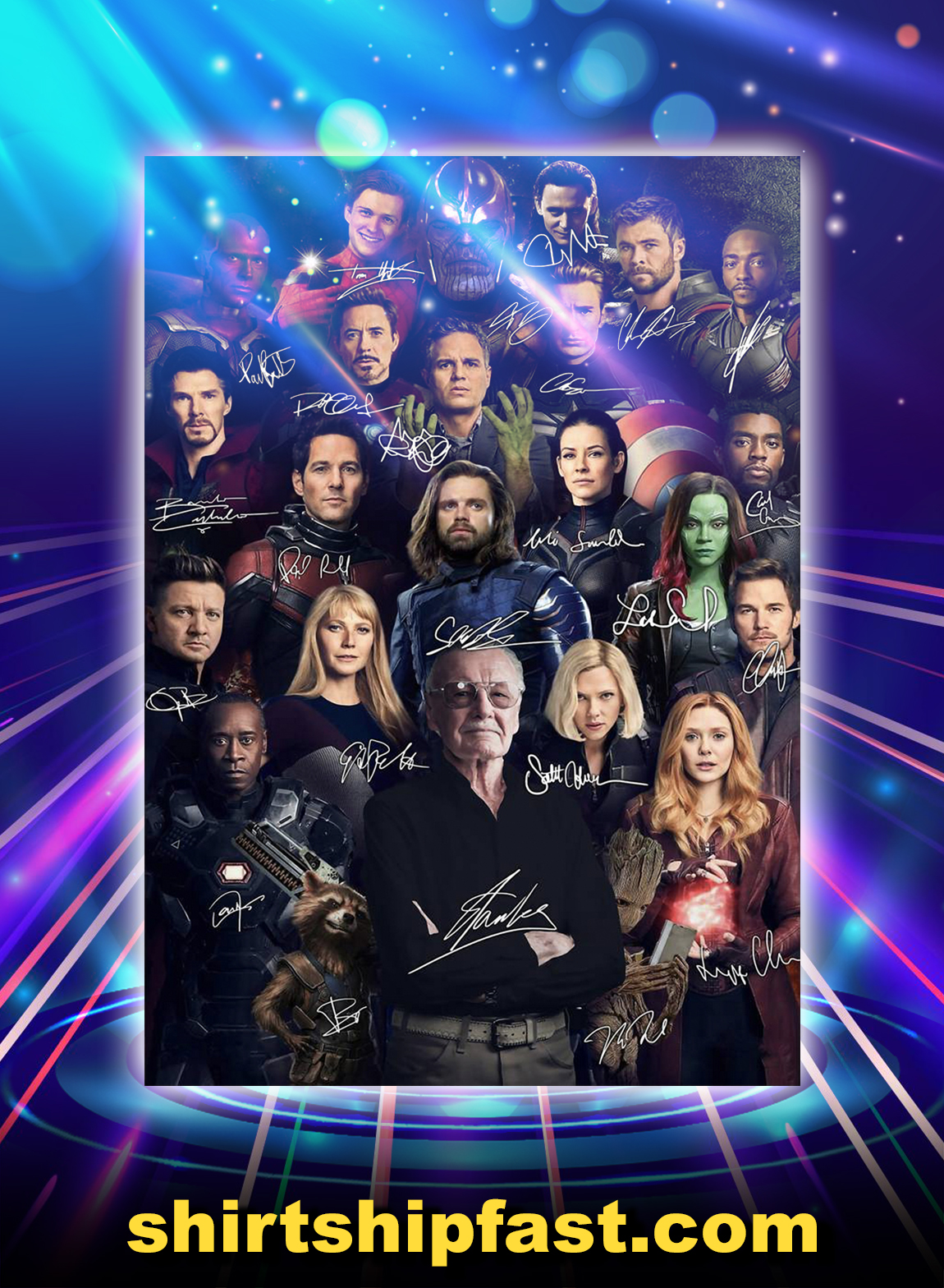 stan lee avengers signature poster