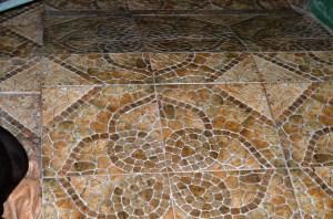 Tiles going up, across, an down.
