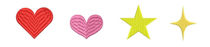 ハートと星の刺繍