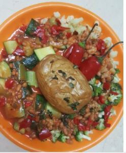 Potato with Beans and Veggies in Tomato Suice