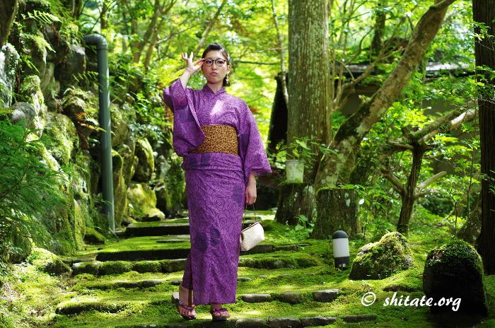 紫の浴衣+眼鏡ポートレート