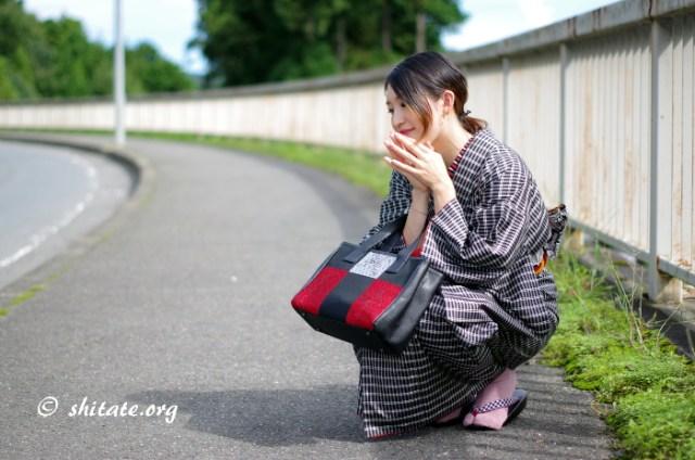 正絹の着物と綿のカジュアル帯3